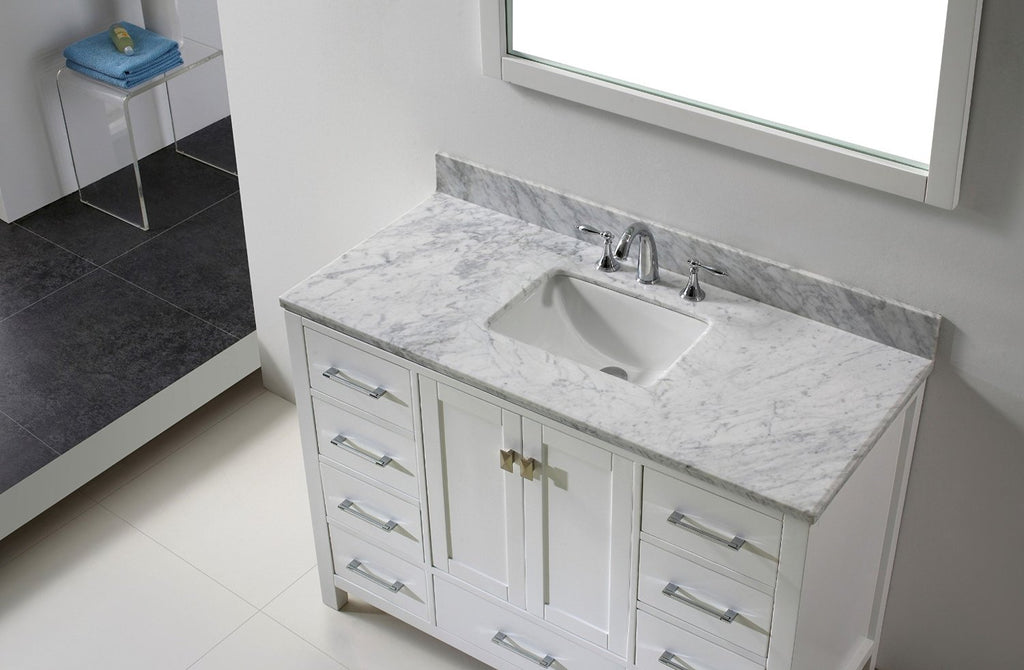 "Eviva Aberdeen 48"" Transitional White Bathroom Vanity with White Carrera Countertop"