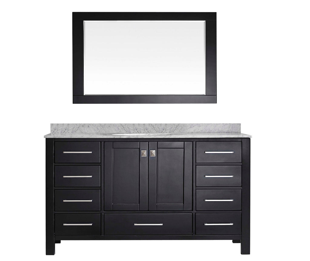 "Eviva Aberdeen 60"" Transitional Espresso Single Bathroom Vanity with White Carrera Countertop"
