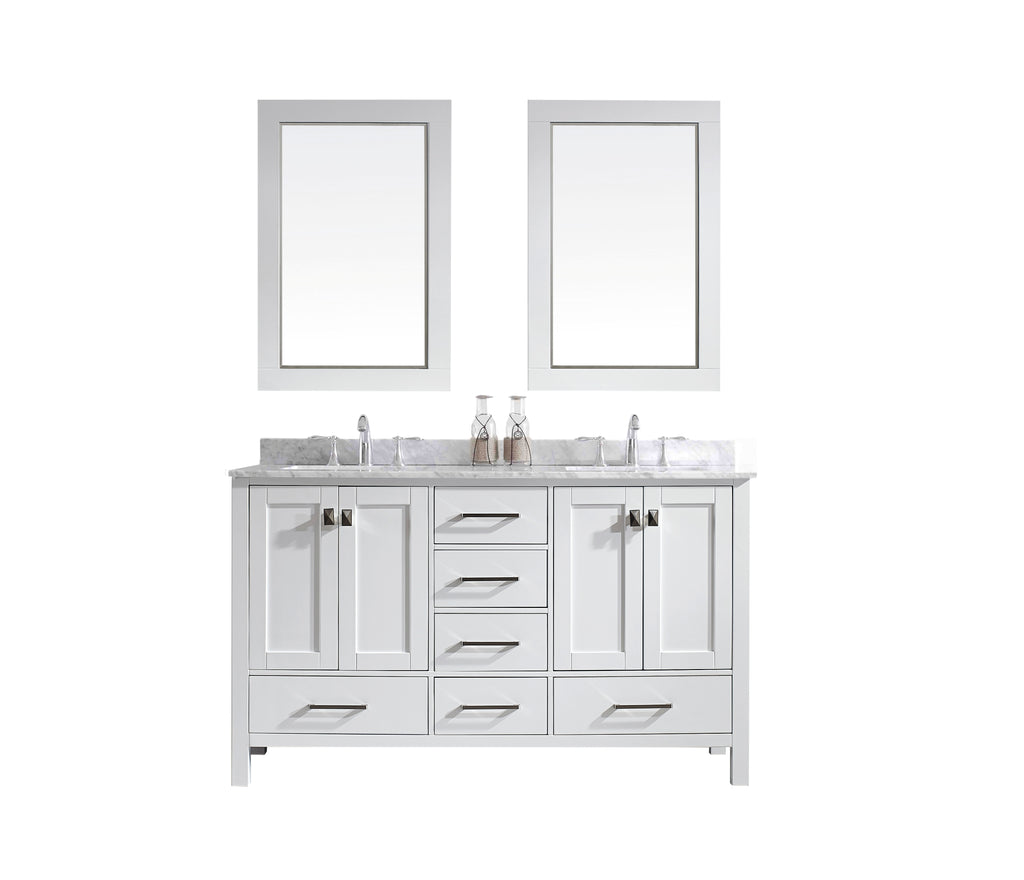 "Eviva Aberdeen 60"" Transitional White Bathroom Vanity with White Carrera Countertop"