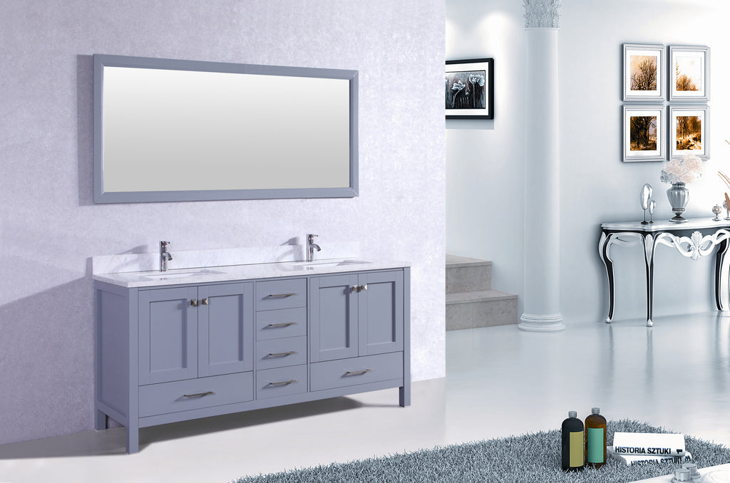"Eviva Aberdeen 72"" Transitional Grey Bathroom Vanity with White Carrera Countertop & Double Square Sinks"