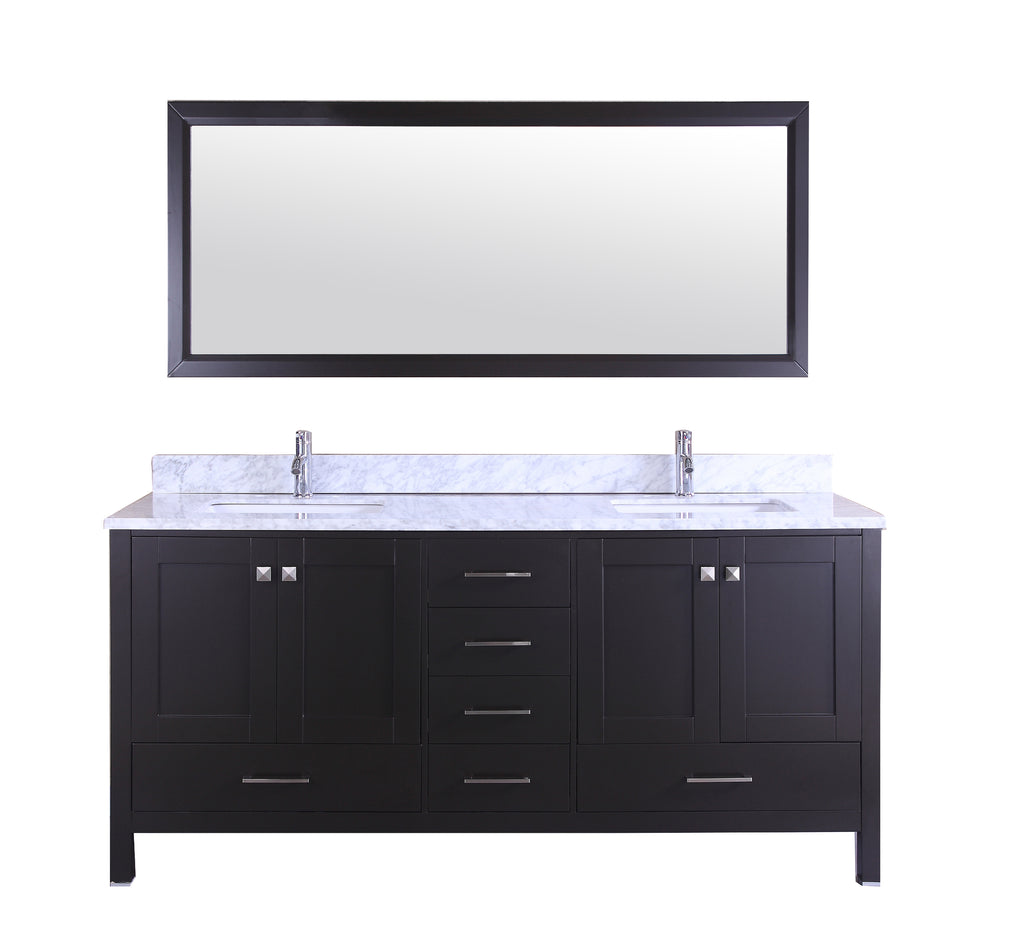 "Eviva Aberdeen 78"" Transitional Espresso Bathroom Vanity with White Carrera Countertop"