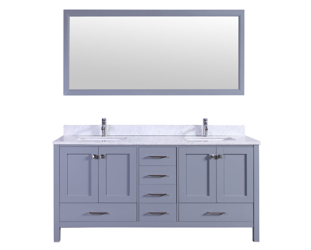 "Eviva Aberdeen 78"" Transitional Gray Bathroom Vanity with White Carrera Countertop"
