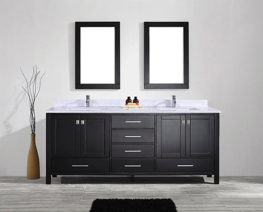 Eviva Aberdeen 84″ Transitional Espresso Bathroom Vanity with White Carrera Countertop