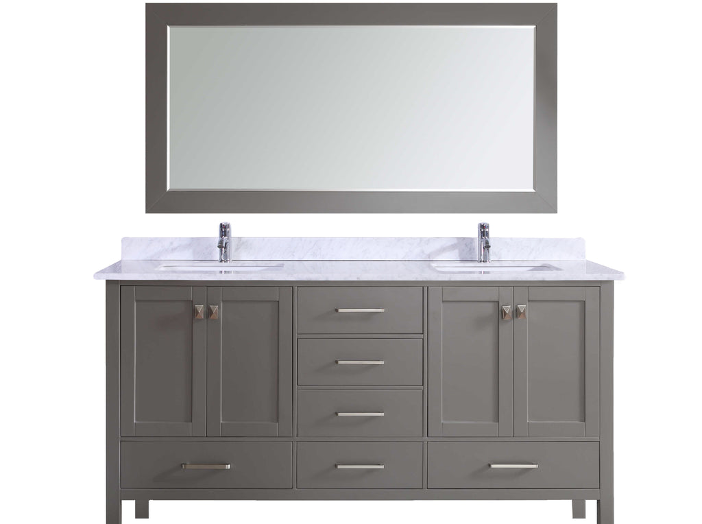 Eviva Aberdeen 84″ Transitional Grey Bathroom Vanity with White Carrera Countertop