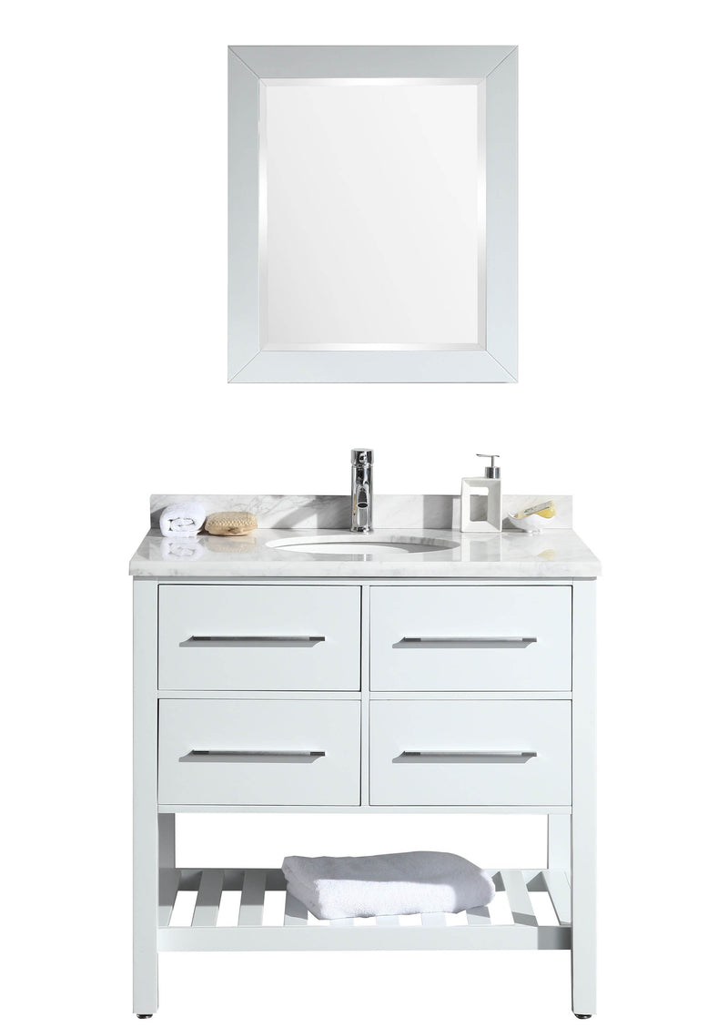 "Eviva Natalie F. 36"" White Bathroom Vanity with White Carrera Marble Counter-top & White Porcelain Sink"