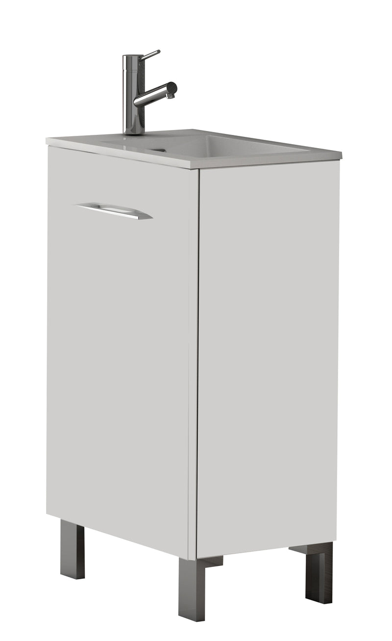 "Eviva Kandy 20"" White Modern Bathroom Vanity with White integrated Acrylic Sink"