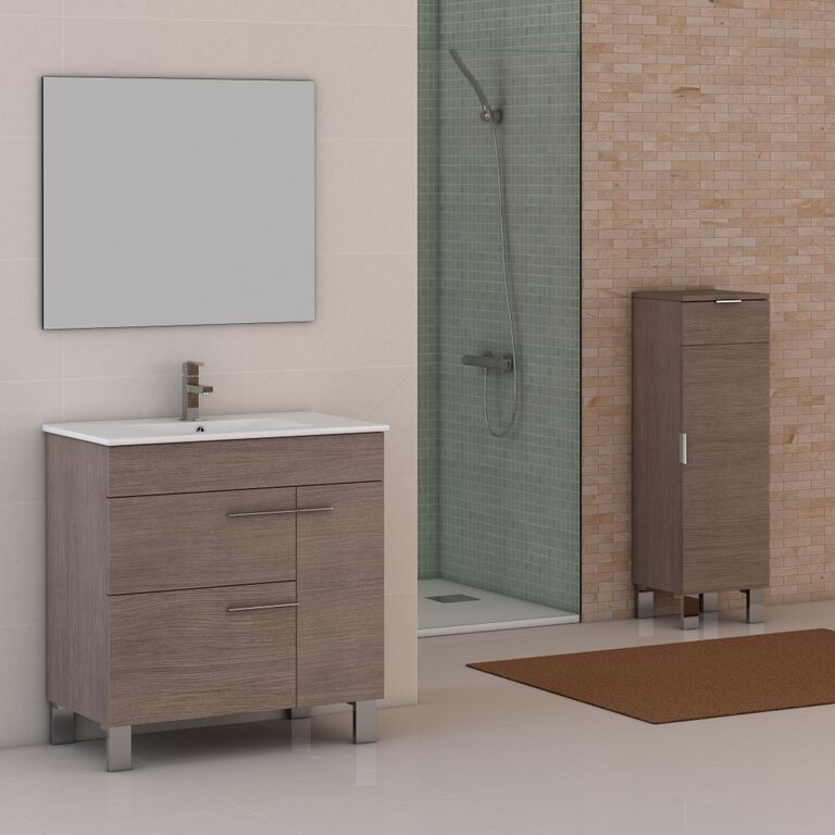 "Eviva Cup 31.5"" Medium Oak Modern Bathroom Vanity with White Integrated Porcelain Sink"