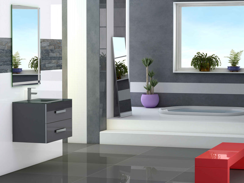 "Eviva Astoria 28"" Grey Modern Bathroom Vanity with White Integrated Porcelain Sink"