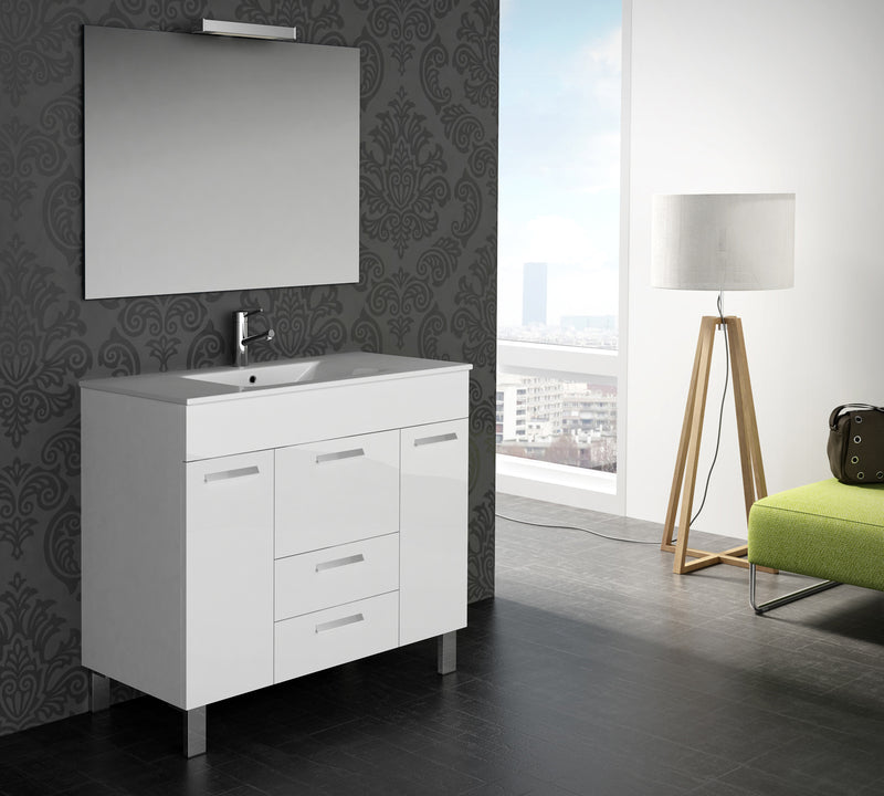 "Eviva Venus 36"" White Modern Bathroom Vanity  Wall Mount with White Integrated Porcelain Sink"