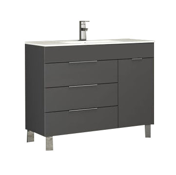"Eviva Geminis 39"" Grey Modern Bathroom Vanity with White Integrated Porcelain Sink"
