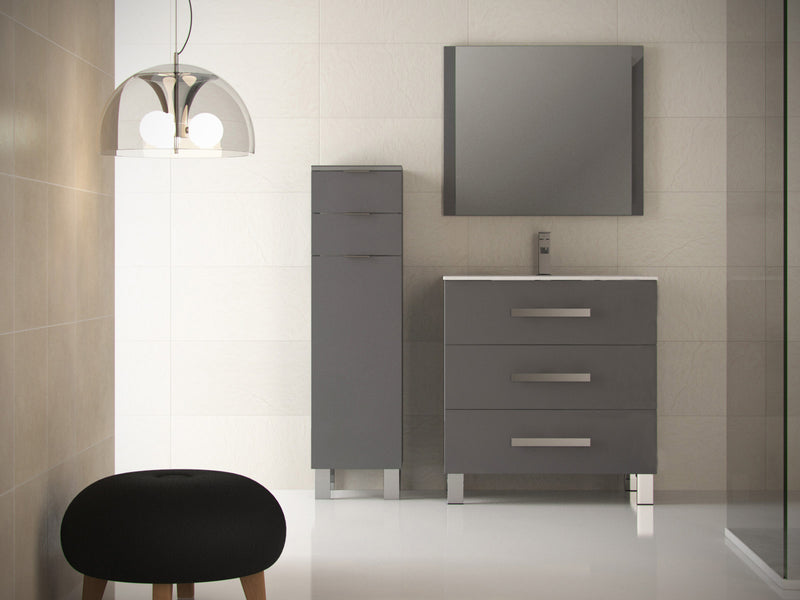 "Eviva Libra 31.5"" Gray Modern Bathroom Vanity  Wall Mount with White Integrated Porcelain Sink"
