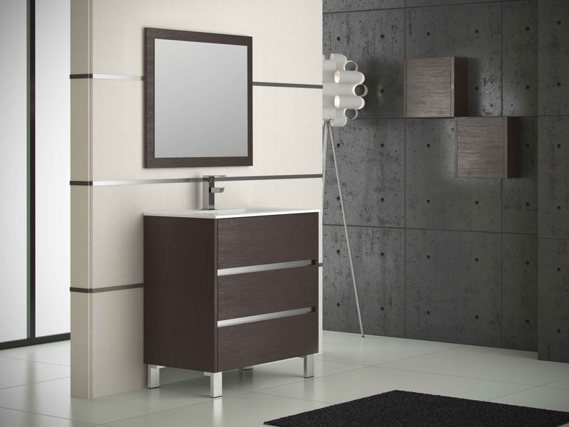 "Eviva Escorpio 32"" Wenge Modern Bathroom Vanity  Wall Mount with White Integrated Porcelain Sink"
