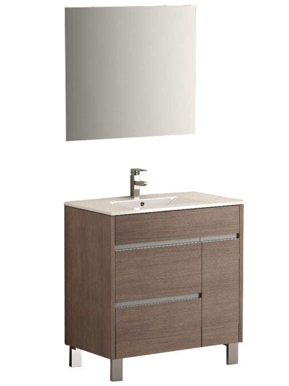 "Eviva Tauro 32"" Medium Oak Modern Bathroom Vanity Set with Integrated White Porcelain Sink"