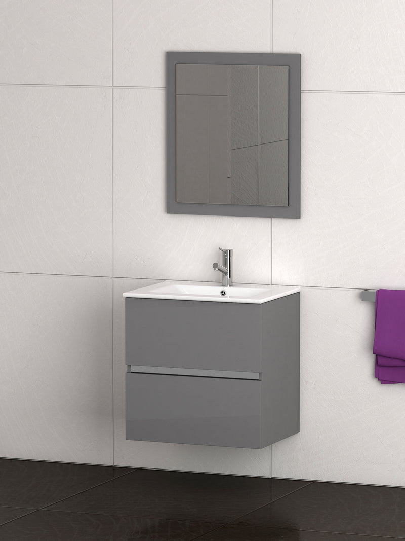 "Eviva Ikaro 24"" Inch Grey Modern Bathroom Vanity Wall Mount with White Integrated Porcelain Sink"