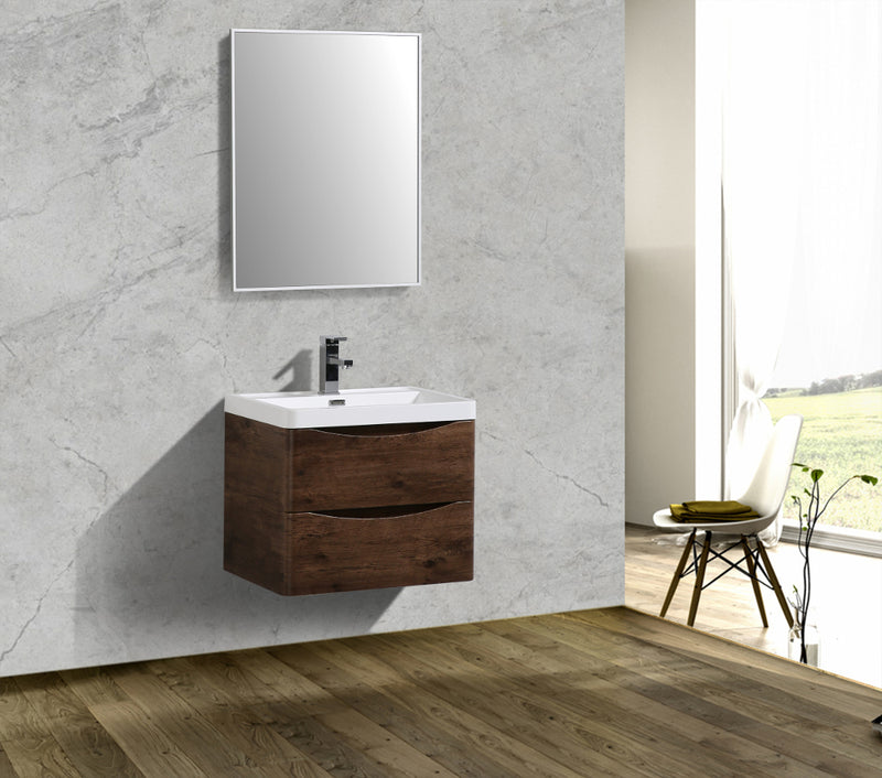 "Eviva Smile 24"" Rosewood Modern Bathroom Vanity Set with Integrated White Acrylic Sink"