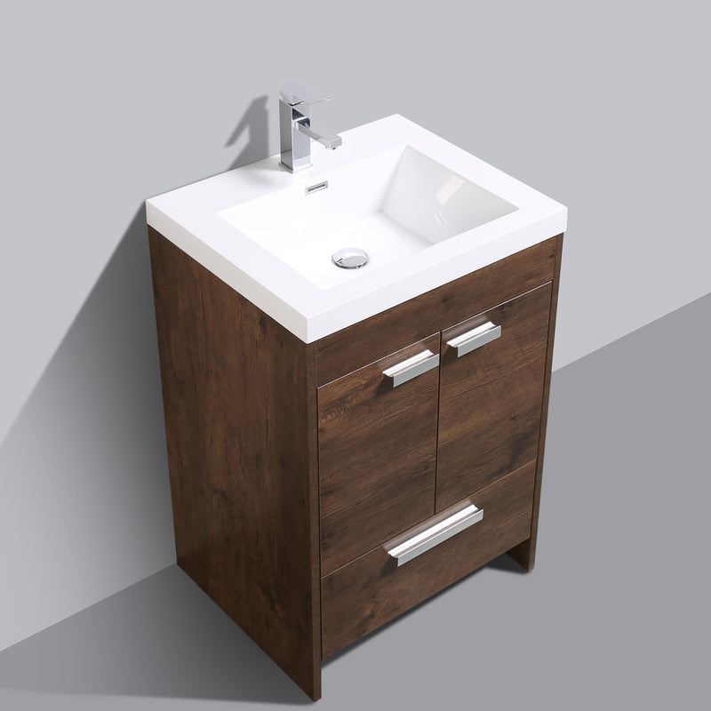"Eviva Lugano 24"" Rosewood Modern Bathroom Vanity with White Integrated Acrylic Sink"