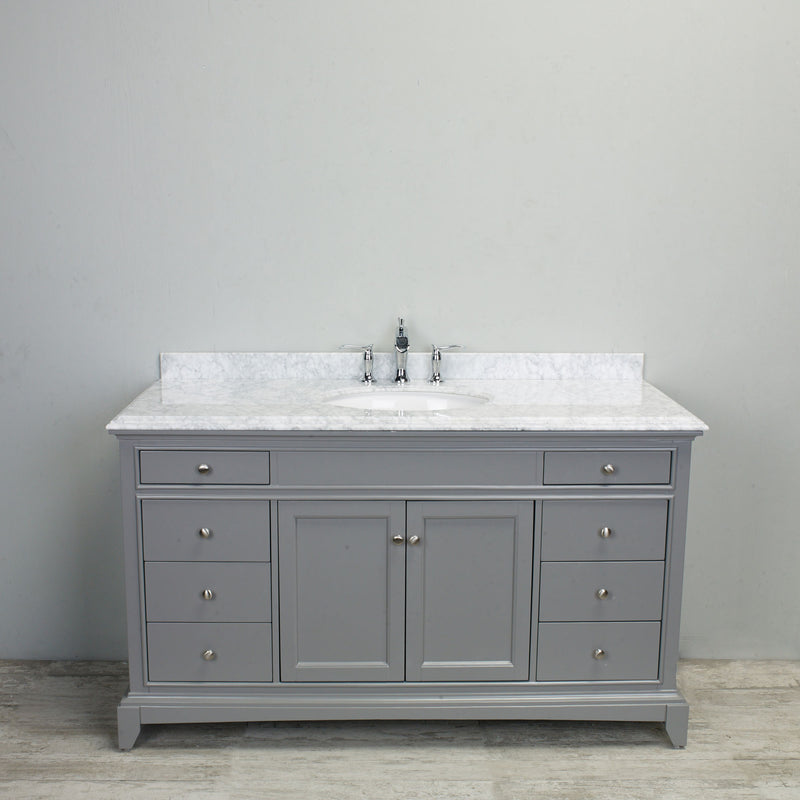 "Eviva Elite Stamford 60"" Grey Solid Wood Single Bathroom Vanity Set with Double OG Crema Marfil Marble Top & White Undermount Porcelain Sink"