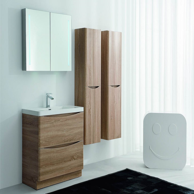 "Eviva Smile 30"" White Oak Modern Bathroom Vanity Set with Integrated White Acrylic Sink Free Standing"