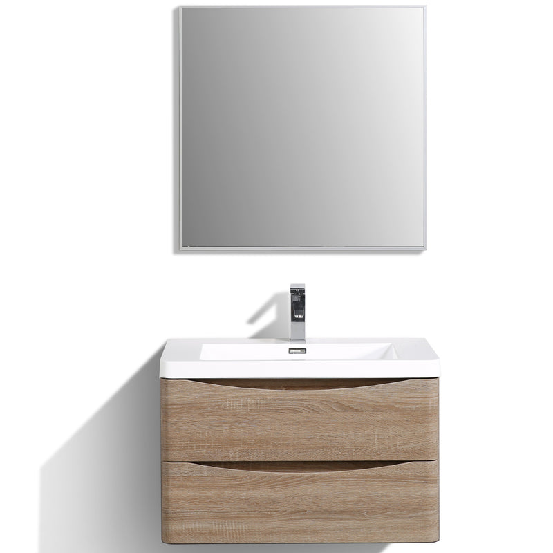 "Eviva Smile 30"" White Oak Wall Mount Modern Bathroom Vanity Set with Integrated White Acrylic Sink"