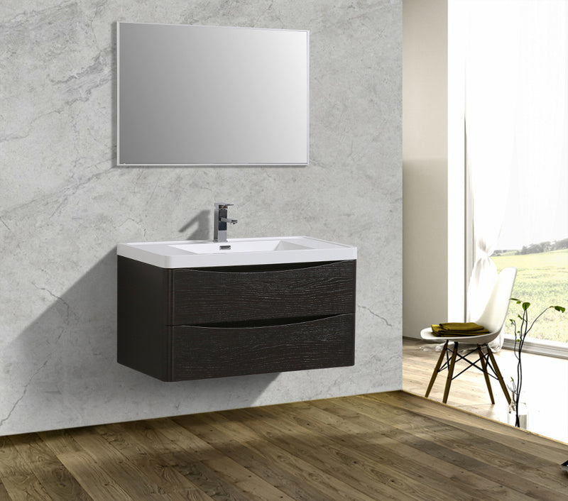 "Eviva Smile 36"" Chest-nut Modern Bathroom Vanity Set with Integrated White Acrylic Sink"