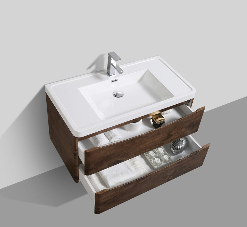 "Eviva Smile 36"" Rosewood Modern Bathroom Vanity Set with Integrated White Acrylic Sink"