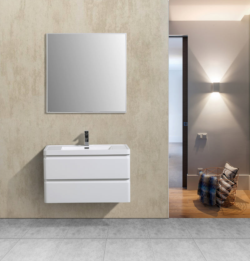 "Eviva Glazzy 36"" Wall Mount Modern Bathroom Vanity (High Glossy White)"