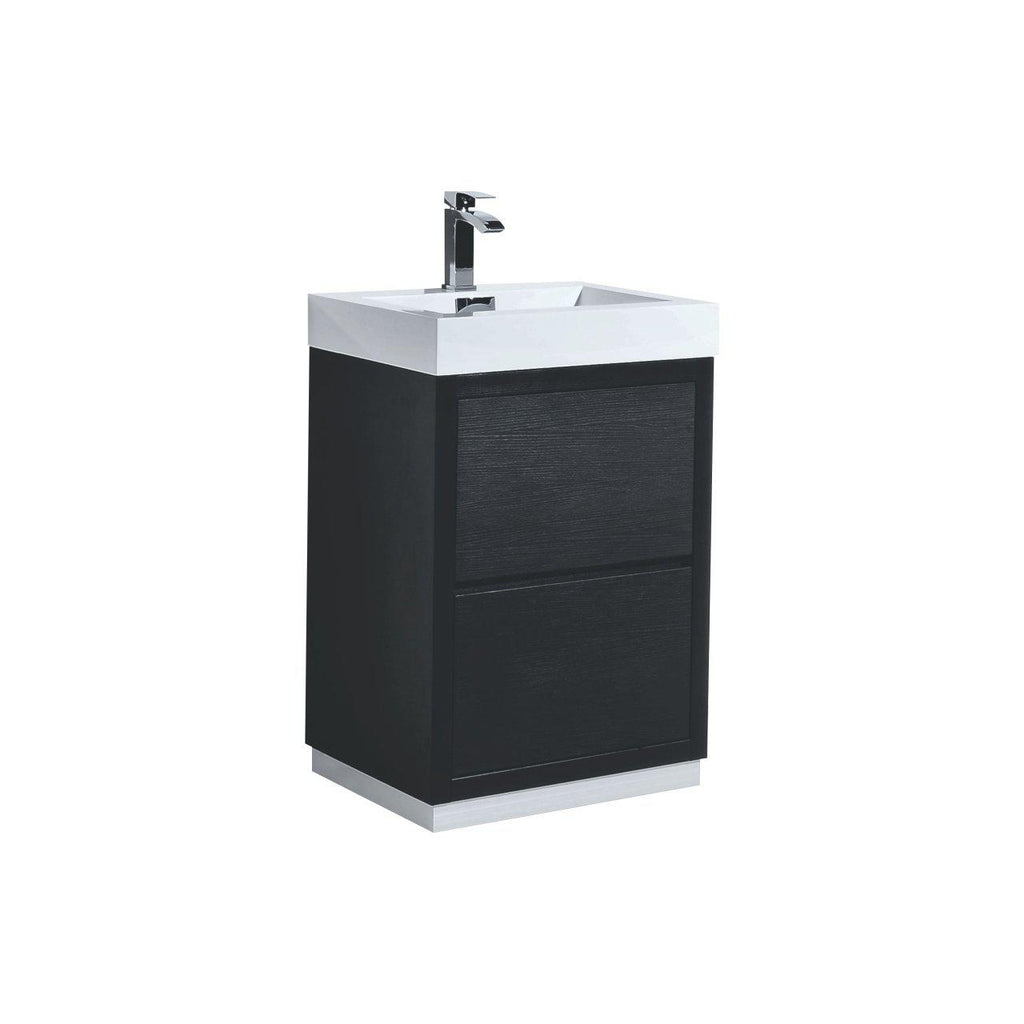 "KubeBath Bliss 24"" Black Free Standing Bathroom Vanity - The Modern Vanity"