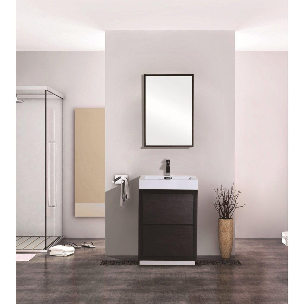 "KubeBath Bliss 24"" Black Free Standing Bathroom Vanity"
