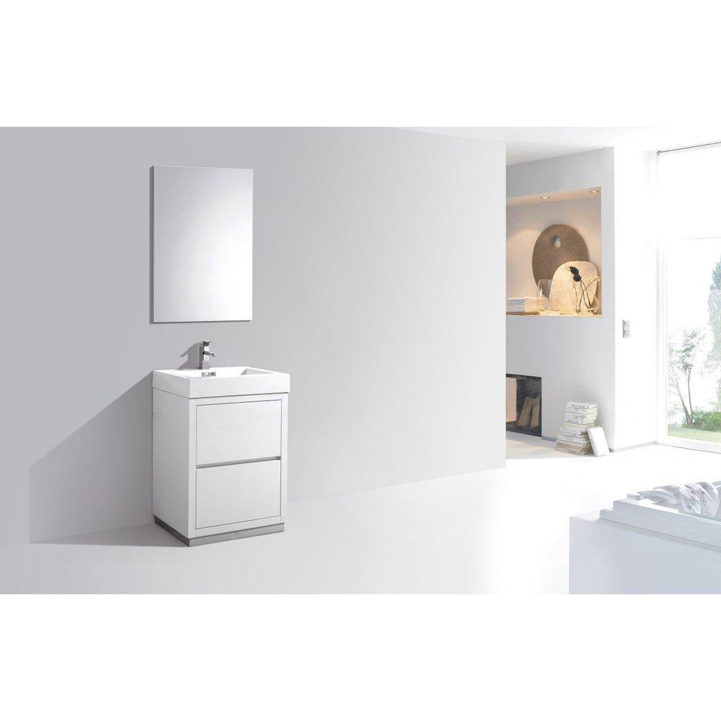 "KubeBath Bliss 24"" High Gloss White Free Standing Bathroom Vanity"