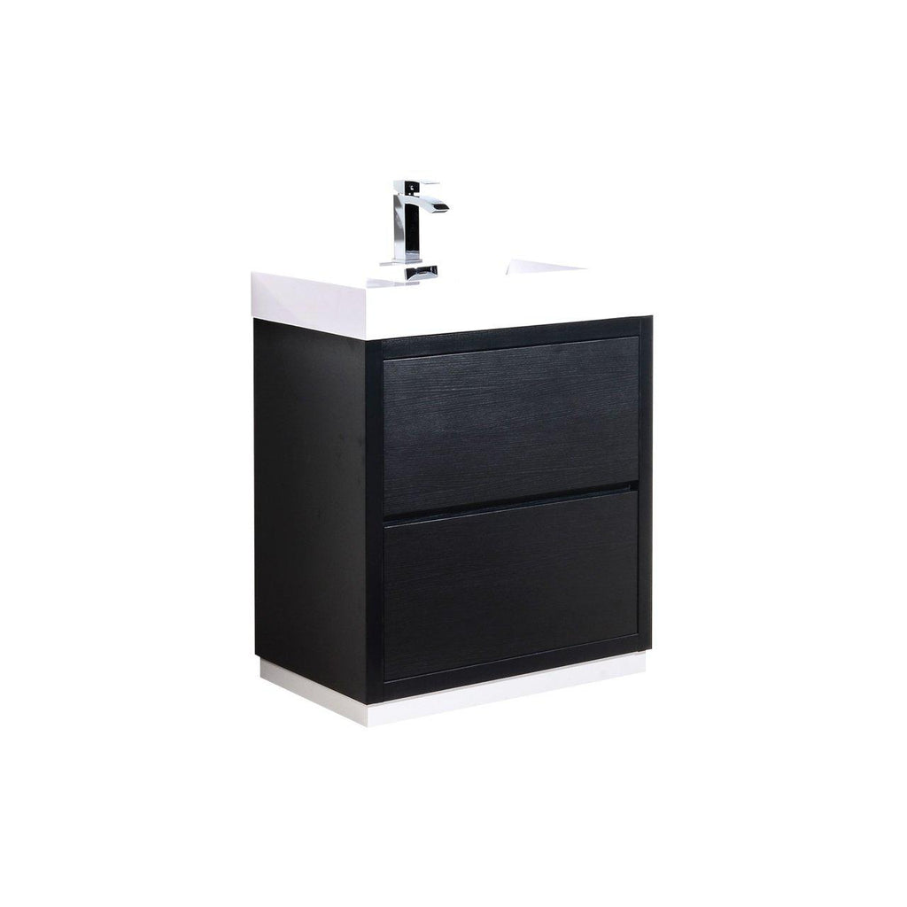 "KubeBath Bliss 30"" Black Free Standing Bathroom Vanity - The Modern Vanity"