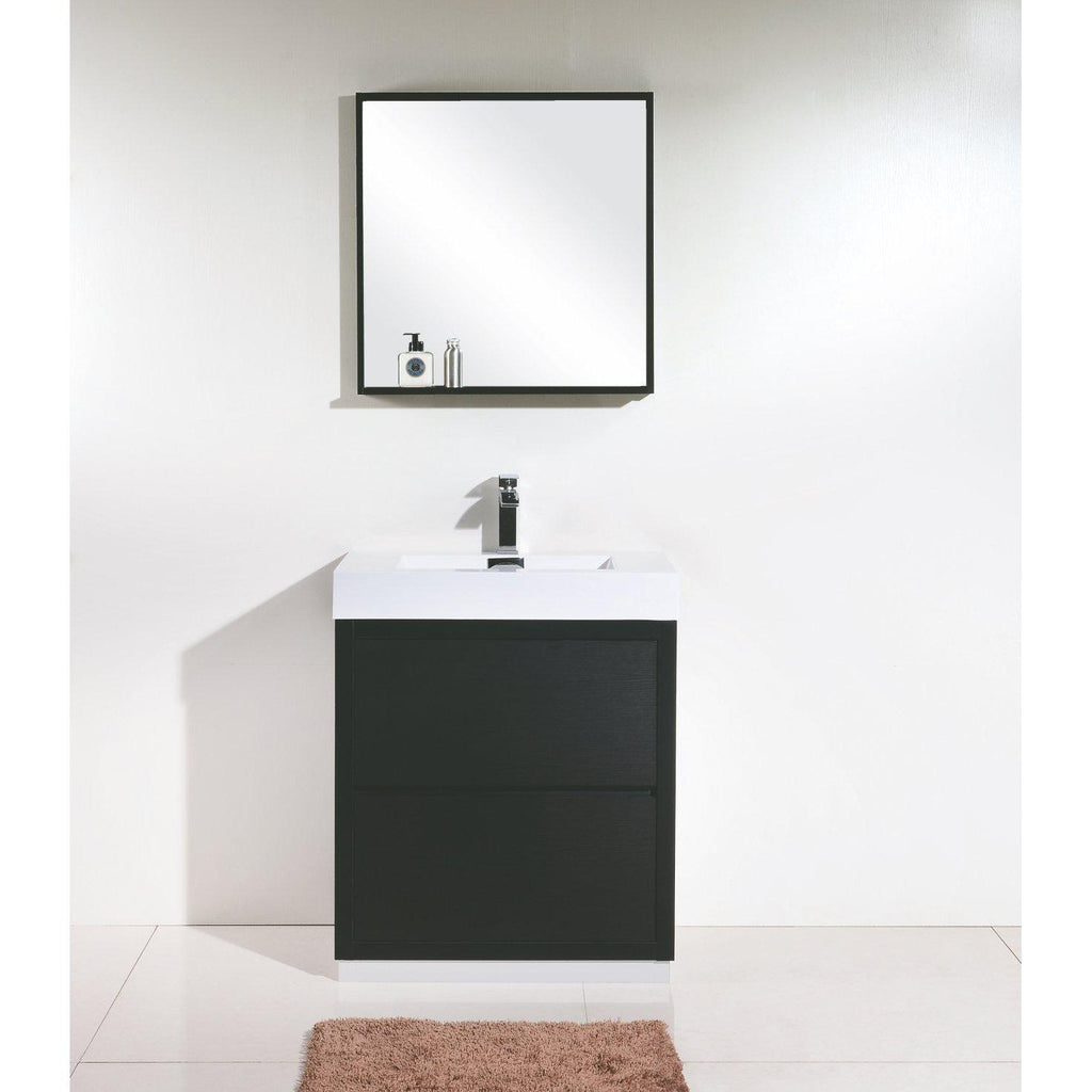 "KubeBath Bliss 30"" Black Free Standing Bathroom Vanity"