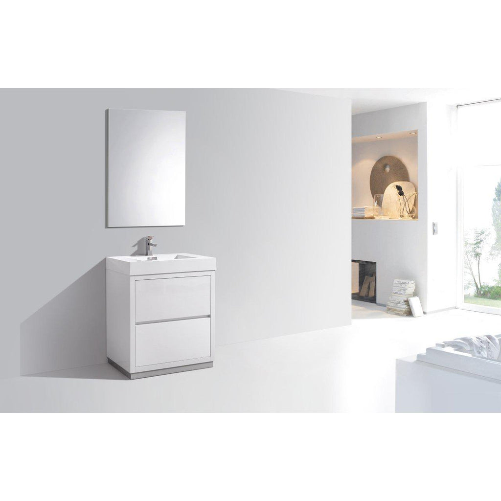 "KubeBath Bliss 30"" High Gloss White Free Standing Bathroom Vanity"