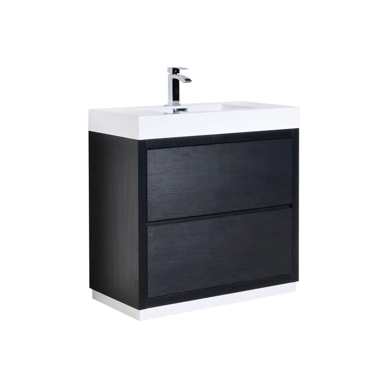 "KubeBath Bliss 36"" Black Free Standing Bathroom Vanity - The Modern Vanity"