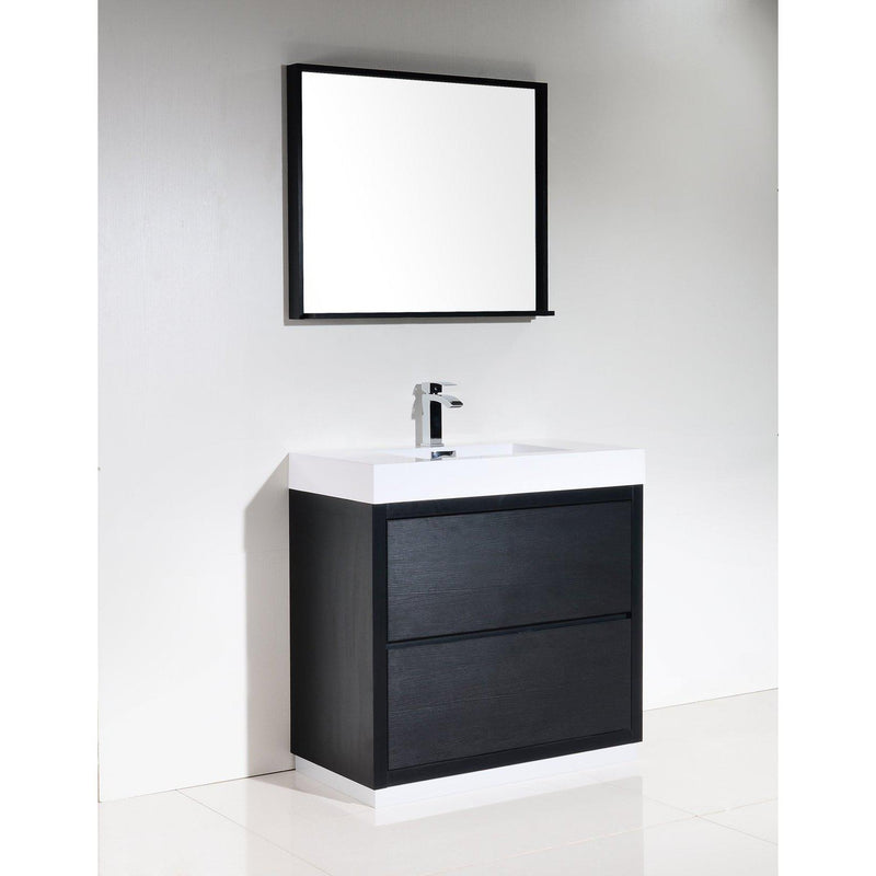 "KubeBath Bliss 36"" Black Free Standing Bathroom Vanity"