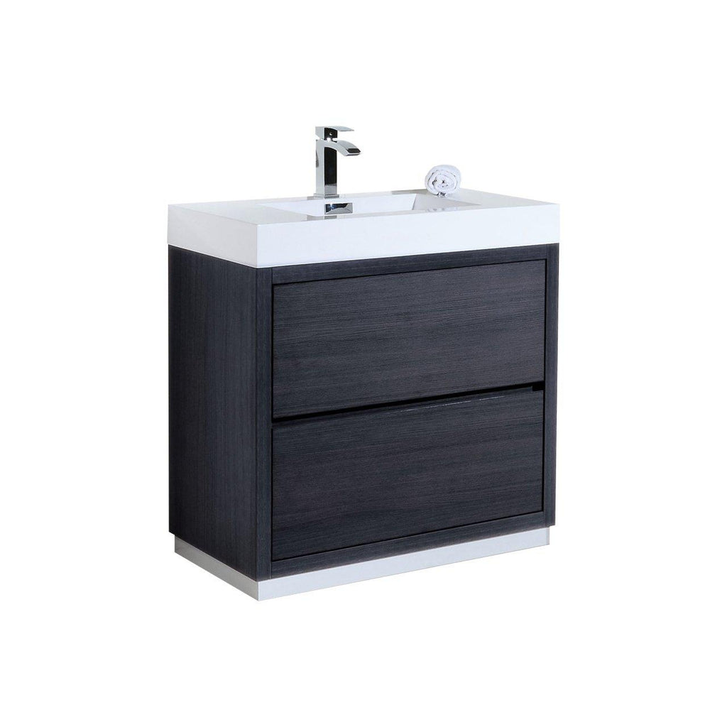 "KubeBath Bliss 36"" Gray Oak Free Standing Bathroom Vanity - The Modern Vanity"