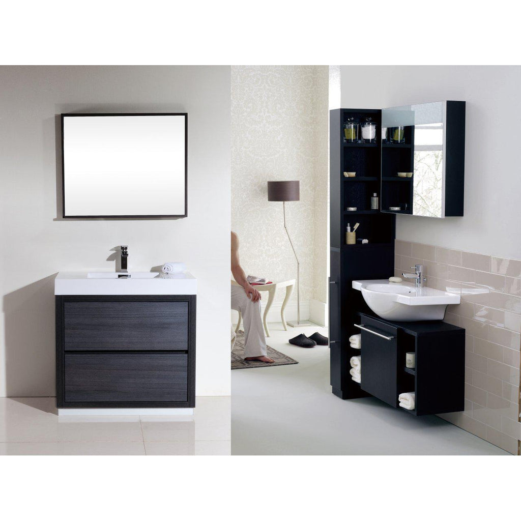 "KubeBath Bliss 36"" Gray Oak Free Standing Bathroom Vanity"