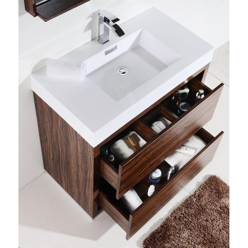 "KubeBath Bliss 36"" Walnut Free Standing Bathroom Vanity"
