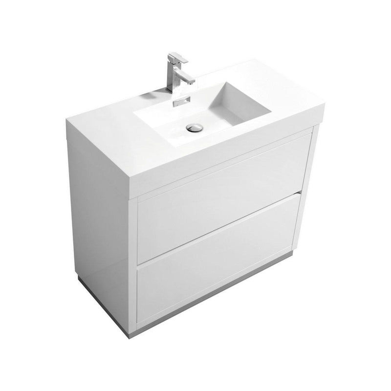 "KubeBath Bliss 40"" High Gloss White Free Standing Bathroom Vanity - The Modern Vanity"