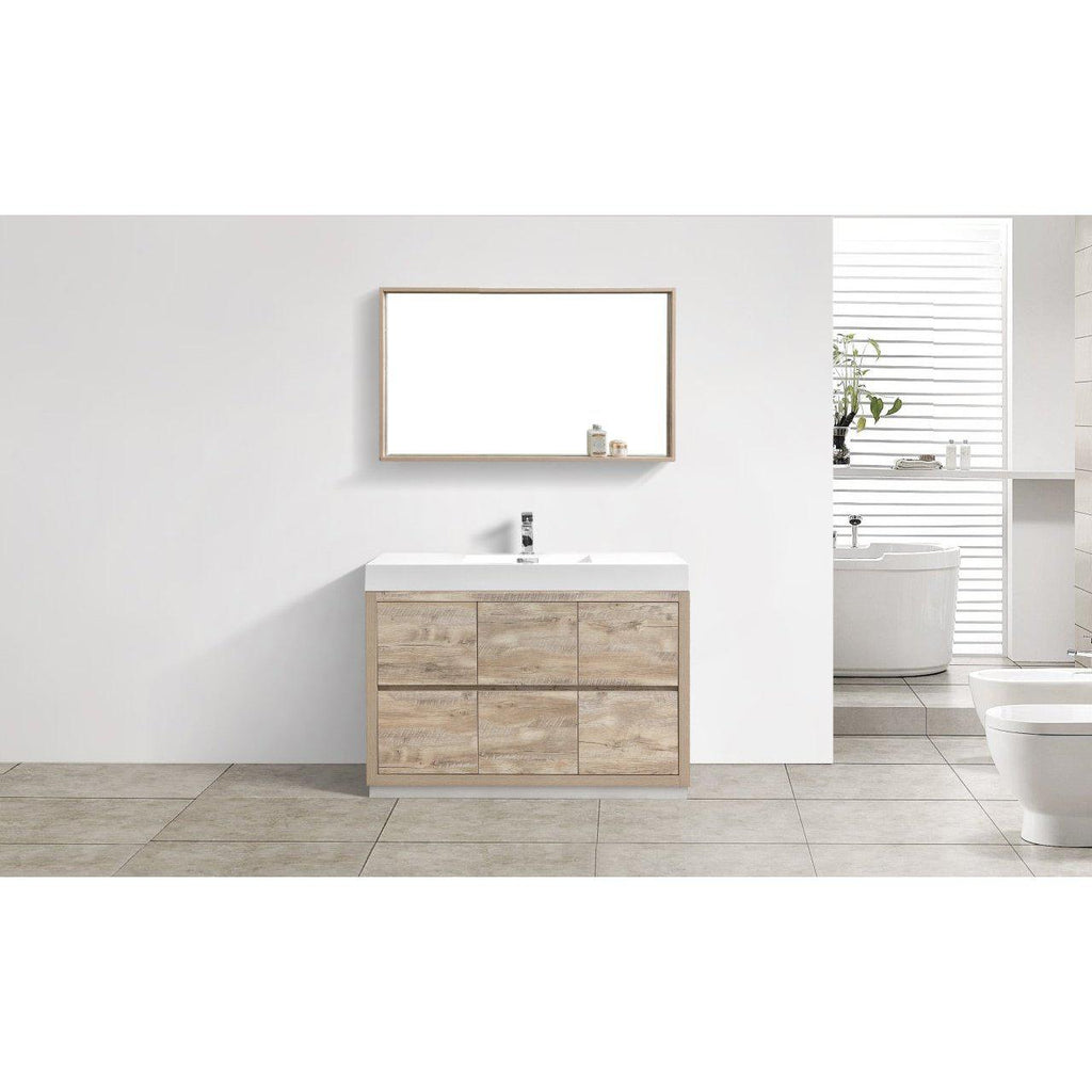 "KubeBath Bliss 48"" Nature Wood Free Standing Bathroom Vanity"