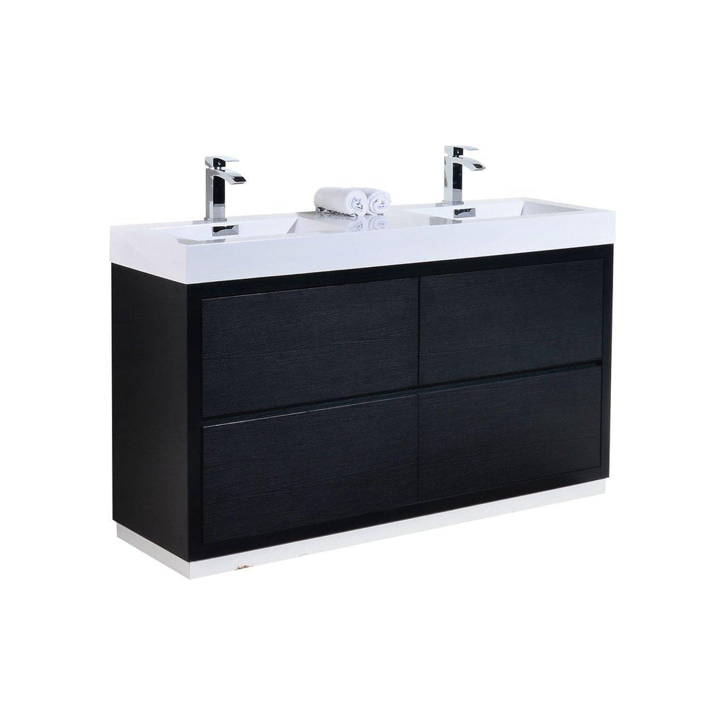 "KubeBath Bliss 60"" Double Sink Black Free Standing Bathroom Vanity - The Modern Vanity"