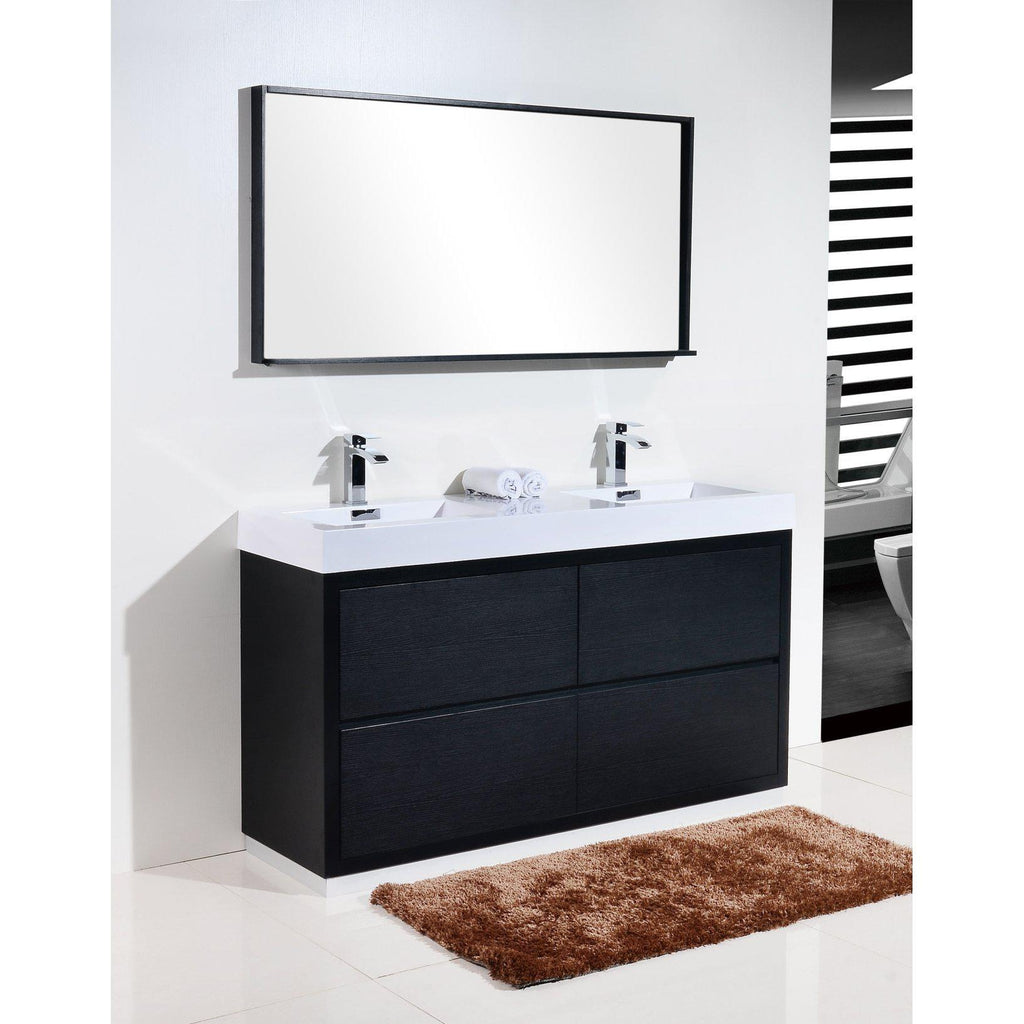 "KubeBath Bliss 60"" Double Sink Black Free Standing Bathroom Vanity"