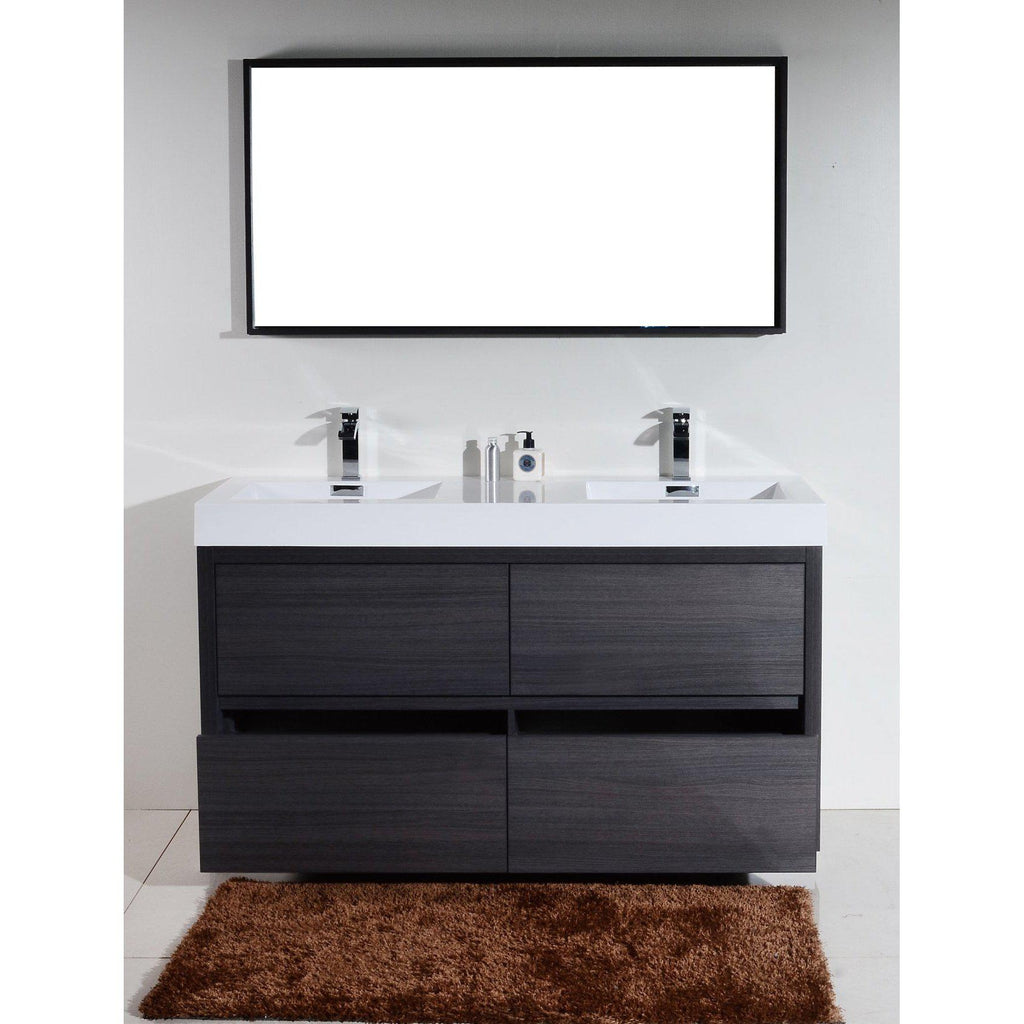 "KubeBath Bliss 60"" Double Sink Gray Oak Free Standing Bathroom Vanity"