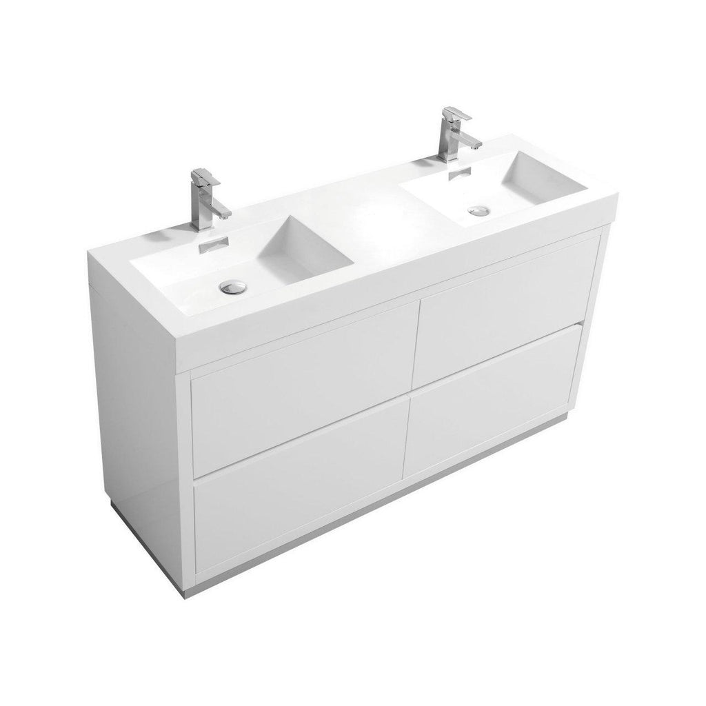 "KubeBath Bliss 60"" Double Sink High Gloss White Free Standing Bathroom Vanity - The Modern Vanity"