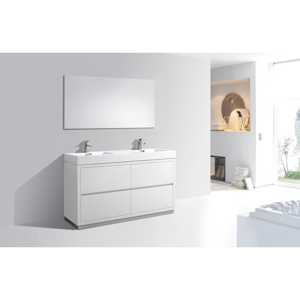 "KubeBath Bliss 60"" Double Sink High Gloss White Free Standing Bathroom Vanity"