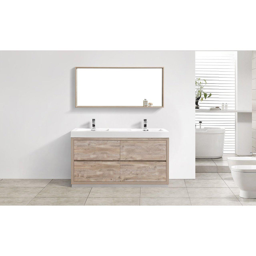 "KubeBath Bliss 60"" Double Sink Nature Wood Free Standing Bathroom Vanity"