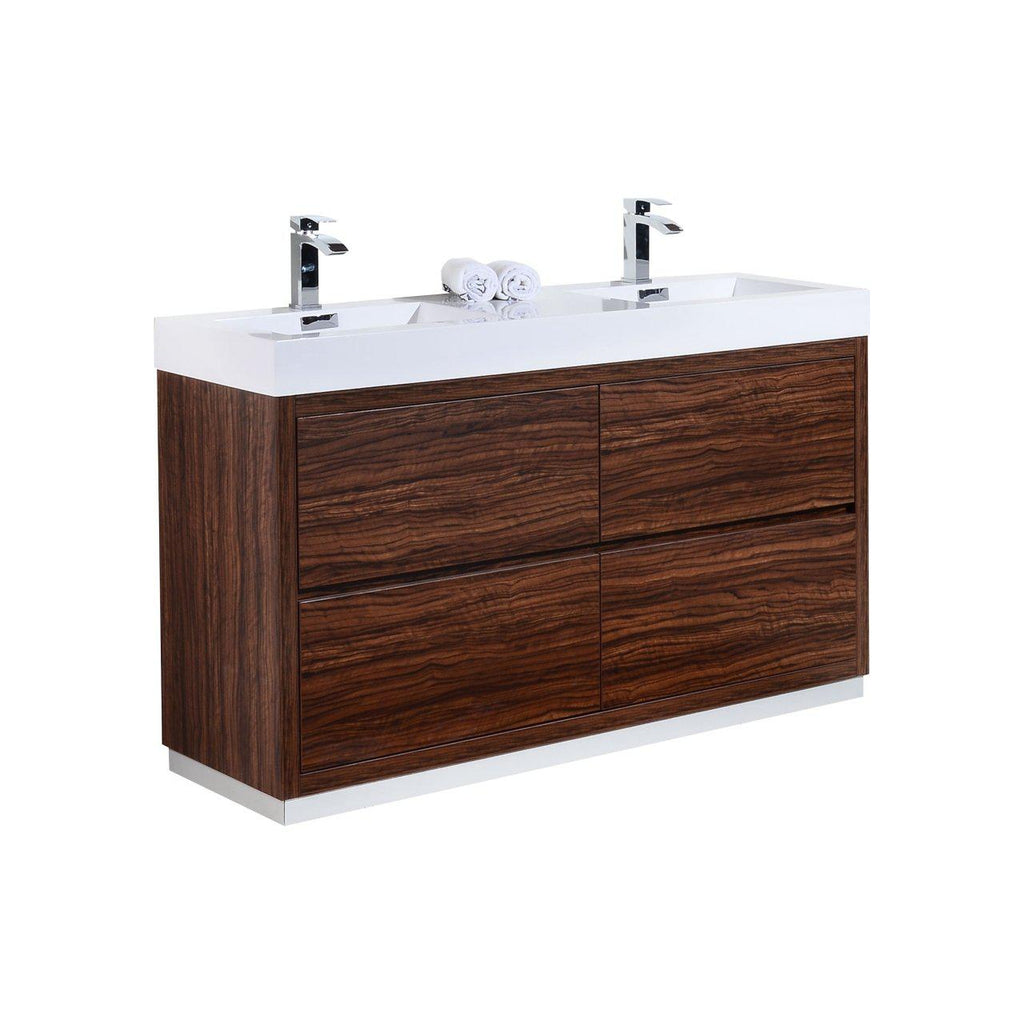 "KubeBath Bliss 60"" Double Sink Walnut Free Standing Bathroom Vanity - The Modern Vanity"