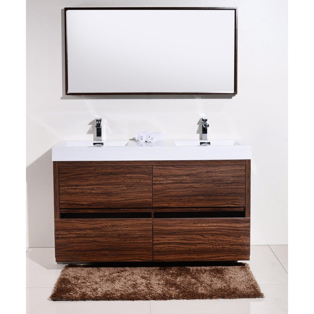 "KubeBath Bliss 60"" Double Sink Walnut Free Standing Bathroom Vanity"
