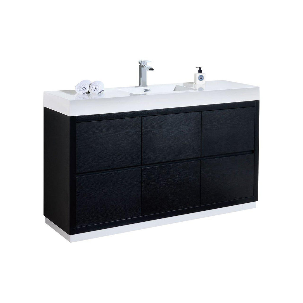 "KubeBath Bliss 60"" Single Sink Black Free Standing Bathroom Vanity - The Modern Vanity"