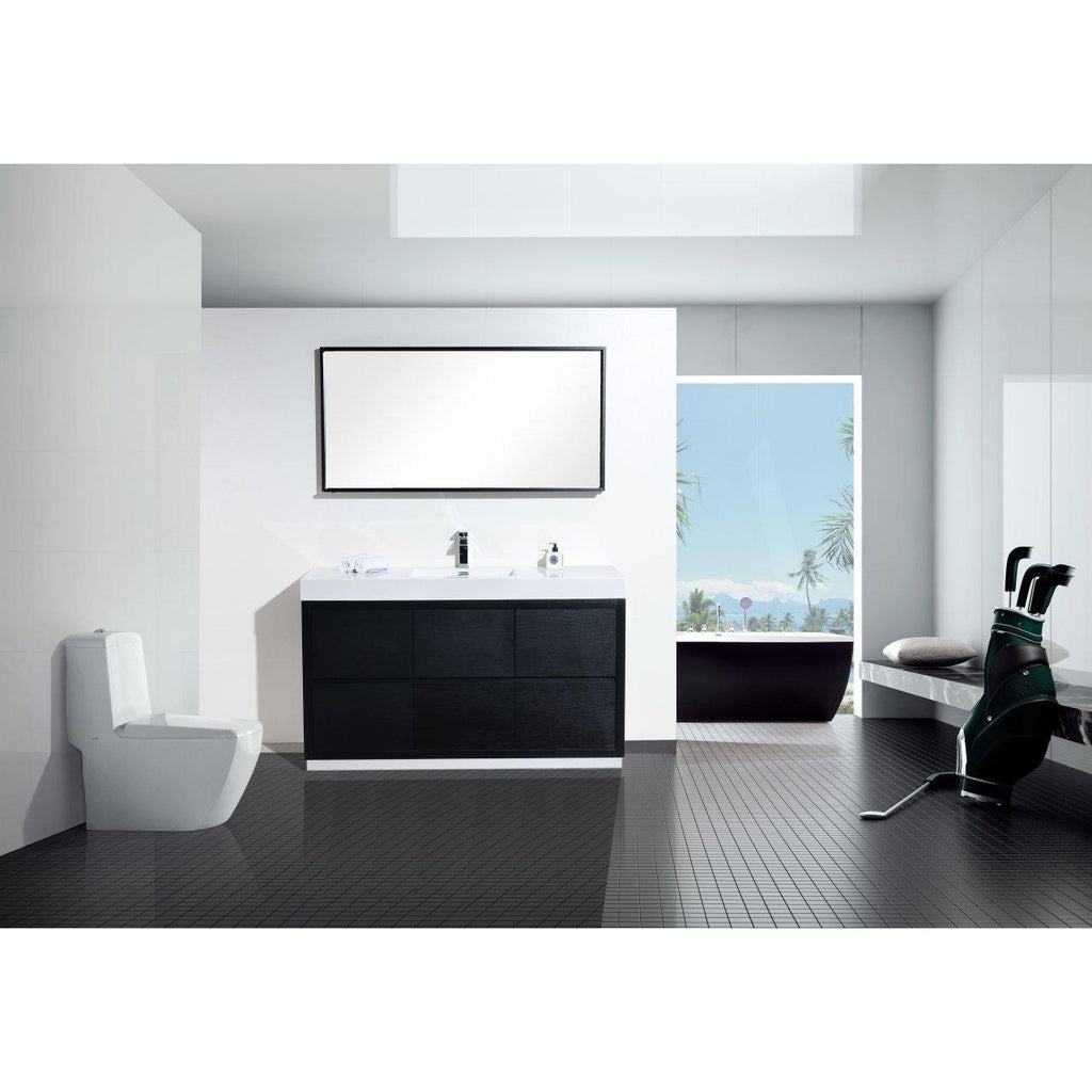 "KubeBath Bliss 60"" Single Sink Black Free Standing Bathroom Vanity"