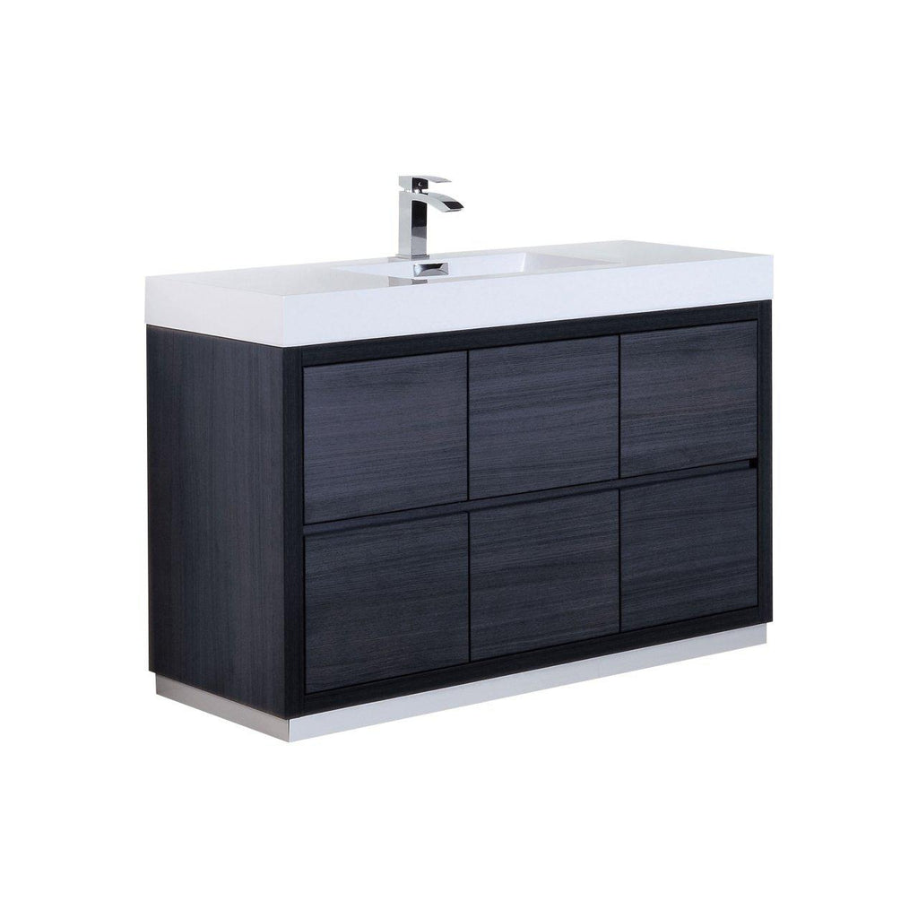 "KubeBath Bliss 60"" Single Sink Gray Oak Free Standing Bathroom Vanity - The Modern Vanity"